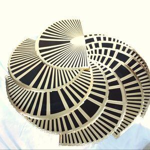 ART DECO GOLD BLACK VINYL PLACEMATS SET 12